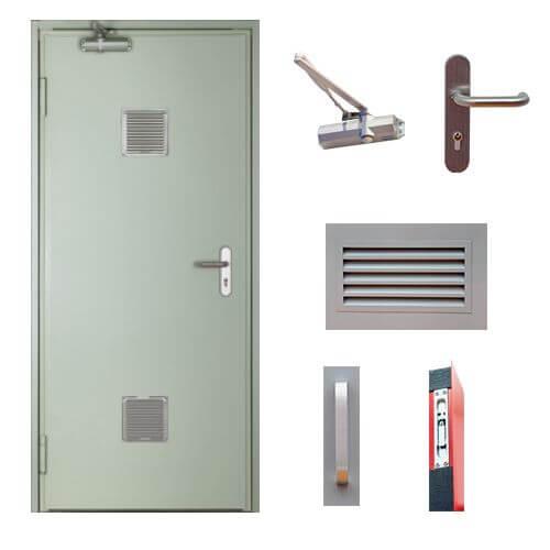 accesorios puerta contra incendios ventilada